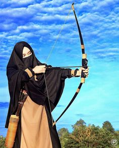 The great Archery Muslimah Beautiful Muslim Women, Beautiful Hijab, Beautiful Asian Girls, Muslim Girls, Muslim Couples, Niqab Fashion, Islamic Cartoon, Anime Muslim, Hijab Cartoon