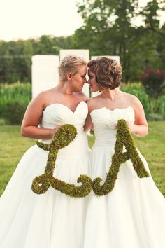 giant moss letters at same sex wedding  http://www.weddingchicks.com/2013/10/01/plum-and-gold-wedding/