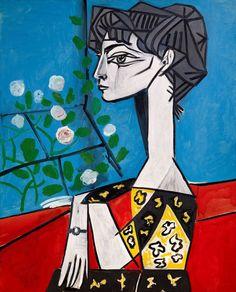 Picasso: Jacqueline with Flowers  #picasso #art #artist #painting #color #portrait