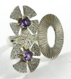 Lovely fashion natural amethyst gemstone flower design 925 silver ring jewellery #Magicalcollection #Cocktail