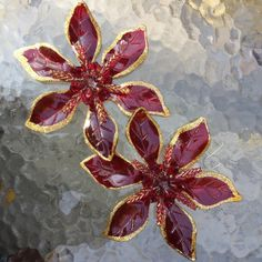 SALE Christmas Ornaments Molded Glittered Red Poinsettias Decorations Set of 2
