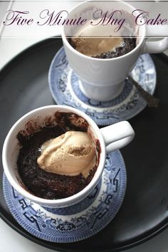 5 minute Chocolate Mug Cake  Makes 2  4 tablespoons flour  5 tablespoons sugar  2 tablespoons cocoa  1 teaspoon baking powder  1/2 teaspoon ...