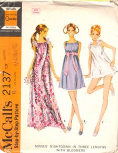 McCalls 2137 1960s Misses Shortie Pajamas with Bloomers and Nightgown in two lengths shoulder ties womens vintage sewing pattern by mbchills