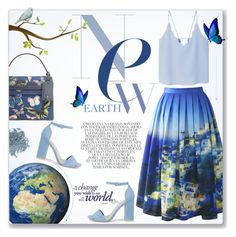 """New Earth ~ Heal the World on Earth Day!"" by alexandrazeres ❤ liked on Polyvore featuring Chicwish, MANGO, Nly Shoes, Valentino, Whiteley, Bare Escentuals, Blue, earthday, healtheworld and Planetearth"