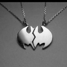 Batman friendship necklace -- This is awesome! We are Batman. Estilo Nerd, Bff Necklaces, Friendship Necklaces, Couple Necklaces, Couple Jewelry, Bff Bracelets, I Am Batman, Batman Vs Superman, Batman Stuff