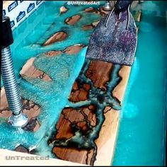 Estuary board start to finish, teal epoxy on walnut with fractal rivers ⚡ Foll., - Epoxy Resin - Welcome Epoxy Wood Resin Table, Epoxy Resin Table, Epoxy Resin Art, Resin Table Top, Wood Slab Table, Wood Tables, Woodworking Projects Diy, Diy Wood Projects, Furniture Projects