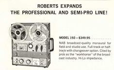 1962 ad for the Roberts 192 professional broadcast reel to reel tape recorder in Reel2ReelTexas.com vintage reel to reel tape recorder collection