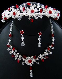 Couture Red Crystal Bridal Jewelry and Wedding Tiara Set - Tiaras & Headbands
