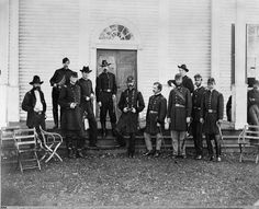 Photograph shows Major General George G. Meade and staff posed in front of a Wallack's House in Culpeper, Virginia in Sept. Gettysburg College, Gettysburg National Military Park, American Civil War, American History, Battle Of Cold Harbor, Social Contract, Gettysburg Battlefield, Major General, Narrative Essay