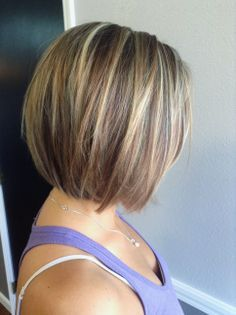 Blonde Highlights with Straight Brown Short Hair Hair styles Short Stacked Haircuts, Short Bob Haircuts, Short Hair Cuts, Short Hair Styles, Straight Haircuts, Bob Styles, Hairstyles Haircuts, Cool Hairstyles, Hairstyle Ideas