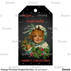 Shop Vintage Victorian Cloaked Girl Snow Christmas Gift Tags created by LeonOziel. Vintage Tags, Vintage Gifts, Vintage Shops, Happy Holidays, Christmas Holidays, Stationery Craft, Gel Ink Pens, Personalized Gift Tags, Christmas Gift Tags