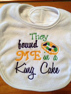 Mardi Gras Baby Bib with cute saying They found me by grammeshouse, $10.00