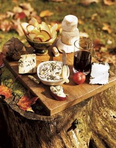 autumn picnic: cheese, wine, and apples