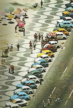 (vw beetles) Copacabana Beach in the '70s—few do summer better than the Cariocas (natives of Rio de Janeiro). Love the color!