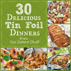 30 Delicious Tin Foil Dinners from SixSistersS perfect for camping or to cook on the grill! Tin Foil Dinners, Foil Pack Meals, Hobo Dinners, Grilling Recipes, Cooking Recipes, Healthy Recipes, Campfire Food, Campfire Recipes, Camping Meals