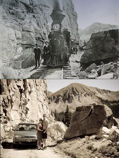 """Excursion train at """"Split Rock"""" in 1889. This prominent landmark is located near the palisades on the old Denver, South Park and Pacific railroad grade to the historic Alpine Tunnel."""
