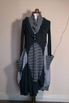 """""""Mothswing"""" wool, alpaca and acrylic upcycled dress."""