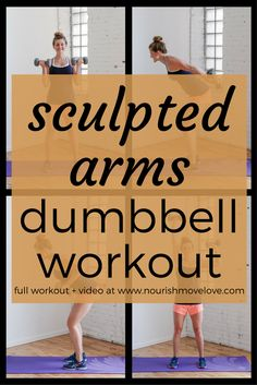 Sculpted arms dumbbell workout - 20 minute, six exercises to build lean muscle and upper Ab Core Workout, Dumbbell Workout, Strength Workout, Workout Challenge, Workout Plans, Post Baby Workout, Post Pregnancy Workout, Fit Pregnancy, Building Biceps