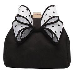 Buy Miss KG Tara Bow Clutch Bag, Black/White Online at johnlewis.com