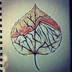 Aspen leaf with mountains inside Baby Tattoos, New Tattoos, Body Art Tattoos, Cool Tattoos, Tattoo Grafik, Tree Tat, Natur Tattoos, Classy Tattoos, Aspen Leaf