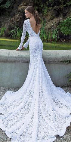 wedding dress fit and flare 36 Lace Wedding Dresses That You Will Absolutely Love lace wedding dresses fit and flare with long sleeves v back train berta Lace Wedding Dress With Sleeves, Fit And Flare Wedding Dress, Country Wedding Dresses, Black Wedding Dresses, Long Sleeve Wedding, Elegant Wedding Dress, Wedding Dress Styles, Lace Dress, October Wedding Dresses