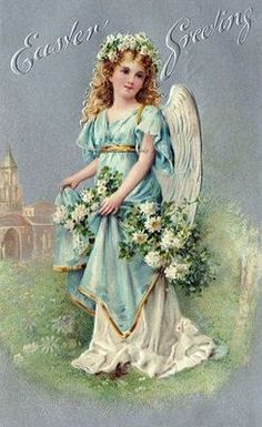 Easter Angel Reproduction of a Vintage Postcard
