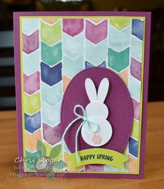 "The Daisy Punch has been enormously popular since its introduction last year, so I think it's safe to say that many Stampin' Up! fans already have what they need to make this punch art bunny. The bunny is made from two circles (3/4"" and 1"") and two daisy petals, and the tail is from the Tree Builder Punch.  The greeting is from the March 2017 Paper Pumpkin kit, and the designer paper is Naturally Eclectic. I appreciate your visit, and I would love to have your business..."