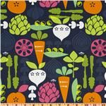 kitchy kitchen vegetable garden navy fabric = my new kitchen curtains!