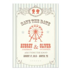 Vintage Carnival Save the Date Custom Announcement How toOnline Secure Check out Quick and Easy...