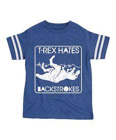 Royal 'T-Rex Hates Backstrokes' Football Tee - Toddler & Boys #zulily #zulilyfinds