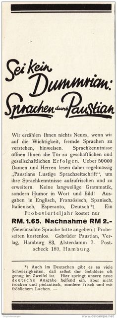 Original-Werbung/Anzeige 1928 - PAUSTIAN'S LUSTIGE SPRACHZEITSCHRIFT  - ca. 75 x 200 mm