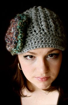 Newsboy style beanie with flower by kariodesigns on Etsy, $25.00