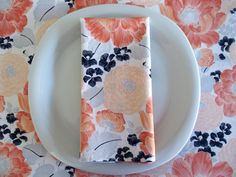 Peach Gray and Navy Blue Cloth Napkins 4 by ItsHandmadebyArianne