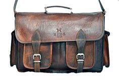 HIDE 1858 TM Genuine Leather Camera Office Satchel Bag 15...