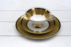 Vintage German Tea Cup and Saucer Trio Set- Yellow and Gold Graphic