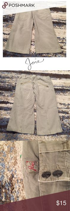 Joie Light Military Green Cropped Cargo Pants Joie Light Military Green Cropped Cargo Pants. 22 inch inseam. 7.5 inch rise (low rise). Gently worn. Size 26 which is a 2. Good condition. Feel free to make an offer or bundle & save! Joie Pants Ankle & Cropped