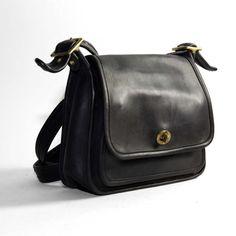 Women's Jet Black Leather Vintage Coach Bag by RabbitHouseVintage, $52.00