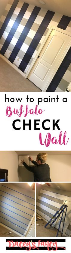 How to paint a Buffalo Check Wall as a fun accent wall in just 4 hours. This plaid focal wall is gorgeous! Here's some painting tips & what products to use! Farmhouse Nursery Decor, Nautical Nursery Decor, Small Baby Nursery, Focal Wall, Buffalo Check, Pick One, Painting Tips, Indoor Garden, Diy Wall
