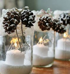 Snowy Pinecone Candle Jars - Crafts by Amanda Christmas Mason Jars, Rustic Christmas, Christmas Holidays, Christmas Crafts, Christmas Decorations, Christmas Decoupage, Christmas Parties, Christmas Ideas, Table Decorations