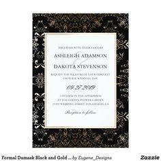 Formal Damask Black and Gold Wedding Invitation
