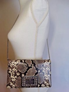 00ff8ee9bb88 MICHAEL KORS Ellie Sand Python Leather Flap Clutch Shoulder Bag MSRP  378.00