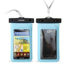 """Amazon.com: DandyCase Blue Waterproof Case for Apple iPhone 5, Galaxy S4, HTC One, iPod Touch 5 - Also fits other Large Smartphones up to 5.3"""" Including Galaxy S3, HTC One X/X+, Droid RAZR/MAXX, Nexus 4, EVO 4G LTE, Droid Incredible, LG Optimus G, Nokia Lumia, Droid DNA, Windows Phone 8X - IPX8 Certified to 100 Feet [Retail Packaging by DandyCase]: Cell Phones & Accessories"""