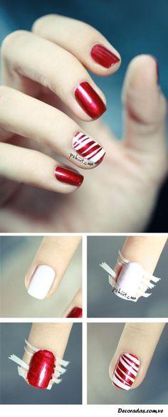 uñas decoradas con técnica de cinta adhesiva.  #unasdecoradas #nailsart