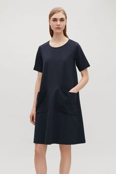 COS image 12 of A-line jersey dress in Navy