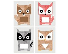 woodland nursery art <3 the quilt colors of each animal too cute