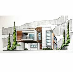 Interesting Find A Career In Architecture Ideas. Admirable Find A Career In Architecture Ideas. Architecture Concept Drawings, Architecture Sketchbook, Art And Architecture, Architecture Graphics, House Sketch, House Drawing, Drawing Art, Espace Design, Casas Containers