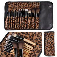 Eye Face Lip Brush Tools 12 PCS Pro Makeup Brush Set Cosmetic Tool Leopard Bag