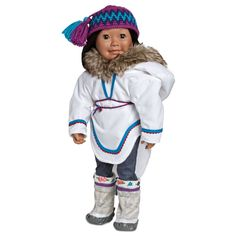 Saila_____Hi! My name is Saila Qilavvaq and I live the furthest north! My home is in Iqaluit, Nunavut. I speak English and Inuktitut and am proud of my Inuit heritage. I love wearing my traditional amauti, kamiik and Pang hat, and eating country foods, pizza and my grandma's bannock and crowberry jam. I am so excited--I am getting a new puppy!  He is almost all white and so I named him Nanuq, which means polar bear.