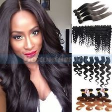 100% Weft Brazilian Bundle Remy Human Hair Straight Deep Curly Weave Extensions $13.99 to $38.99