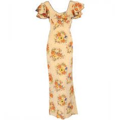 1930's Bias Cut Floral Silk Gown with Train
